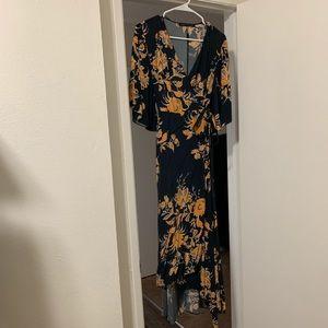 Zara Woman blue and orange wrap dress